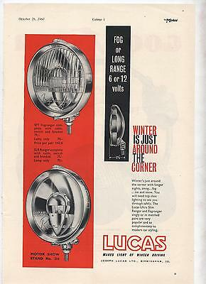 Lucas SFT SLR Spot Lights Original Advertisement removed from a magazine