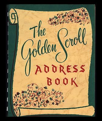 "Vintage 1950 ""the Golden Scroll Address Book"" Never -Used! Complete! Unique!"