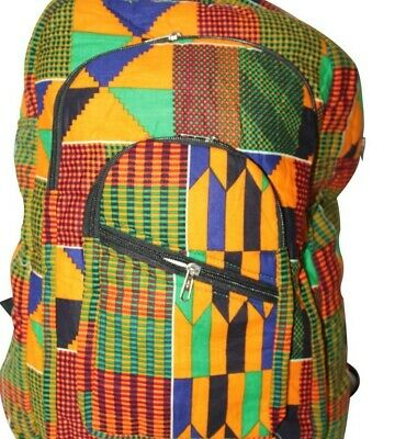 Quality Padded Africa Inspired Ghana Kente Backpack, Racksack, Weekend Bag.