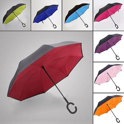 Double Layer Windproof Umbrella Inside Inverted Upside Down Self Standing Giifts