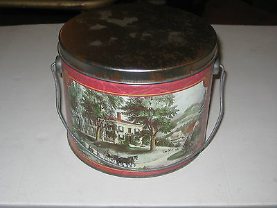 Vintage 50's Era Round Litho'd Metal Lunch Pail Berry Bucket w/Lid Swing Handle
