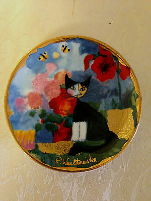"""Goebel 4"""" Cat Plate - Hand Painted by R. Wachtmeister - Signed"""