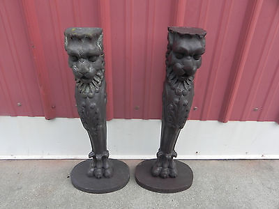 Antique Wooden Gargoyles Statues Set of 2 Measures 22 inches with Base