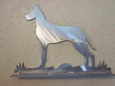 Great Dane Mailbox Topper (No Name) Steel Raw Metal Finish New Style Base