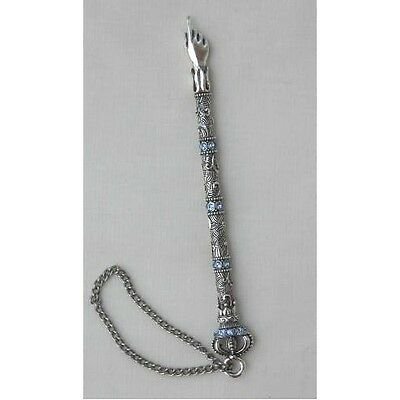 Crown Top Silver Yad W Blue Crystals