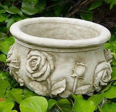 Large Rose Planter Flower Pot Stone Cast Garden Ornament Statue Koi Patio Home