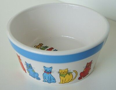 Ceramic Cat Food Deep Bowl White and Blue With Painted Red Green Cats New