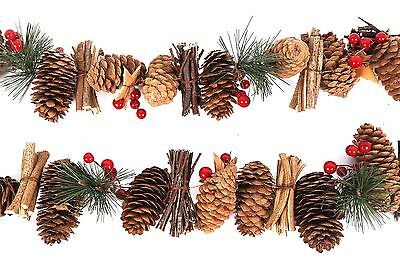 Christmas Holly Berry Pine Cone Twig Garland Tree Decor Festive Ornaments 160cm