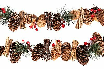 Christmas Holly Berry Wreath Garland Hanging Tree Decor Pine Cone Festive Xmas