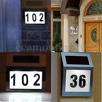 Stainless Solar Powered LED Lighted Lamp Address Sign House Door Number Plaque