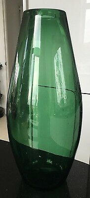 Large And Heavy Hand Blown Vintage Green Vase