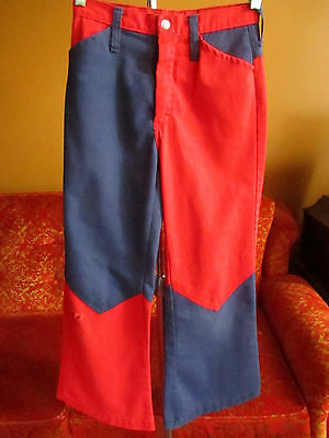 Girls sz 10 24x25 true Vtg 70 JC PENNEY RED/BLUE MOD BOOTCUT DENIM Relic Jeans