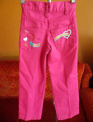 Girls sz 5 19x17 Vintage 70s GARANIMALS HOT PINK  DENIM Jeans RAINBOW POCKET!