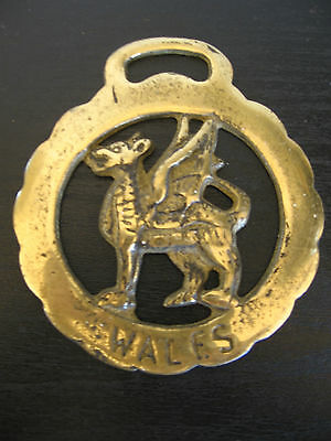 Horse Harness Brass Medallion Bridle Ornament WALES PEGASUS