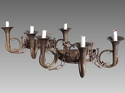 Chapman Vintage Brass French Hunt Horn Wall Sconces Pair ~ 3 Arm