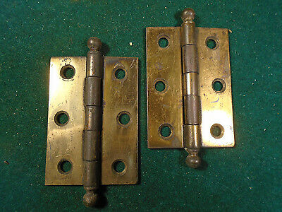 "PAIR VINTAGE BRASS WASHED 1 3/4 "" x 2 1/2"" CANNON BALL CABINET HINGES NICE(6761)"