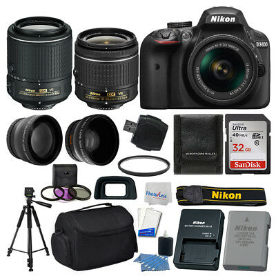 Nikon D3400 Digital SLR Camera +18-55mm VR +55-200mm VR +32GB +More Value Bundle