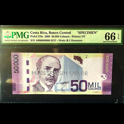 Costa Rica 50000 Colones P279s 2009 Specimen PMG Grade 66 ( Perforated Version )