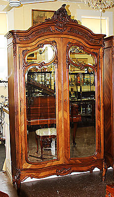 Best Rare Carved Walnut French Louis XV Beveled Mirror Two Door Armoire C1860