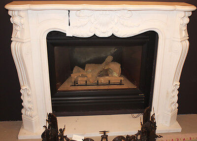 White Carerra Marble Carved French Rococo Mantle Mantel Great Size 59 w x 45 T