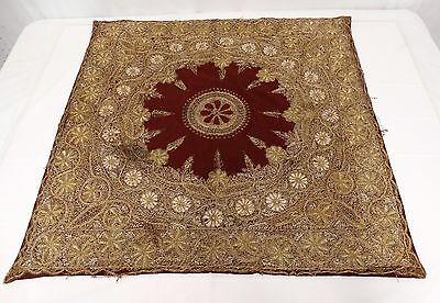 ANTIQUE Mid-Eastern Gold Metallic Ottoman Style Embroidery Wool Table Cover