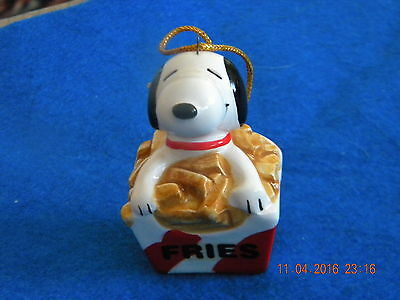 Vintage Snoopy In Box Of Fries Ceramic Christmas Ornament - Rare!!