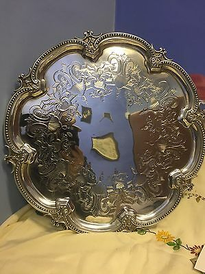 ANTIQUE VICTORIAN SOLID SILVER LARGE 42CM SALVER TRAY, 1853  H E & Co Shefiled
