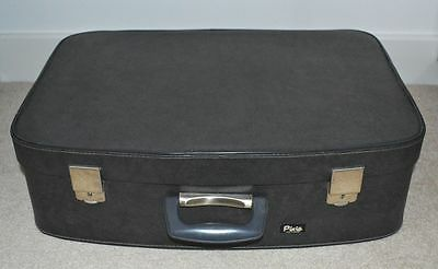 VINTAGE 1950s/60s GREY 'PIXIE' SUITCASE LUGGAGE - RED LINING - GREAT CONDITION