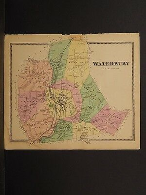 Connecticut, New Haven County Map 1868 Town of Waterbury !Z3#61