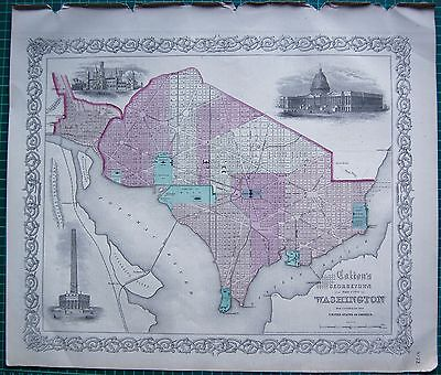 1855 Large Antique Map-Colton- Town Plan, Georgetown And City Of Washington D.c.
