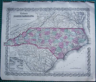 1855 Large Antique Map-Colton- North Carolina