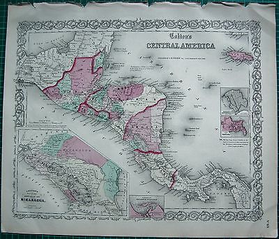 1855 Large Antique Map-Colton- Central America