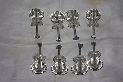 Set of 8 Vintage Glass Hexagon 6 Sided Drawer Cupboard Knobs w Screws