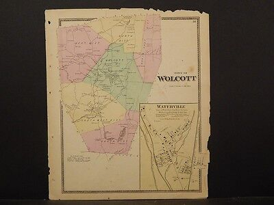 Connecticut, New Haven County Map 1868 Town of Wolcott !Z3#62