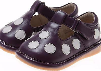 Discontinued Toddler Girl/'s Leather  Squeaky Shoes White with Black Dots Size 1