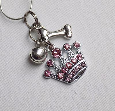 Personalised Pet Cat Dog Christmas Gift ~ PINK CROWN & BONE COLLAR CHARM