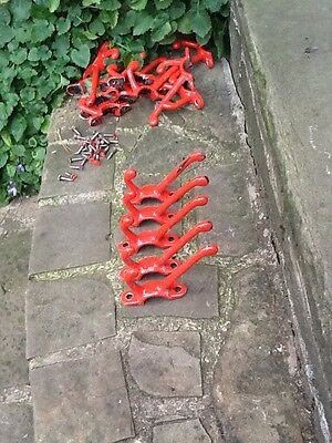 vintage Industrial cast iron old school coat hooks red X 5