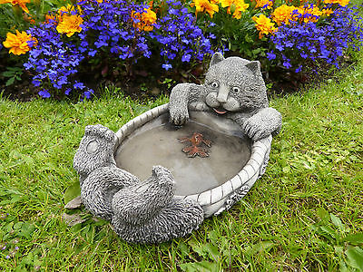 Cat Bird Bath Feeder Garden Ornament Stone Decor Handmade Gift Modern Art