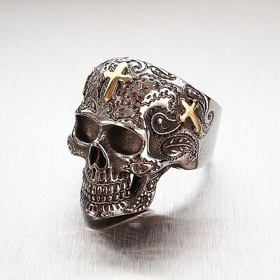 Golden Cross Mens Stainless Steel Big Skull Ring Gothic Biker Punk Goth Mexican