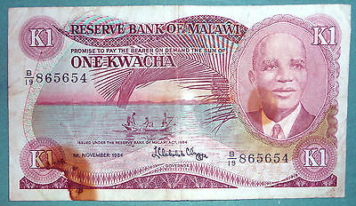 MALAWI 1 KWACHA NOTE, P 14 h , issued 01.11. 1984
