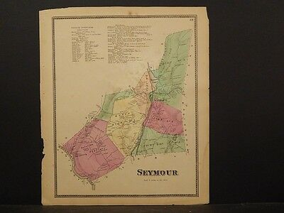 Connecticut, New Haven County Map 1868 Town of Seymour !Z3#67