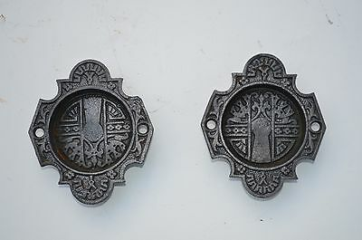 2 Very Ornate Antique Victorian Cast Iron Pocket Door Pulls East Lake Style