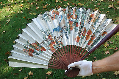 """Vintage Chinese Folded Paper Wood Wall Fan 20"""" x 35"""""""