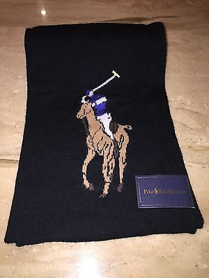 Polo Ralph Lauren Wool Scarf Black Large Polo Player Free Shipping