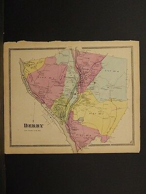 Connecticut, New Haven County Map 1868 Town of Derby !Z3#71