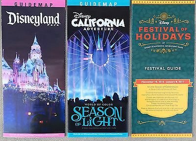 Disneyland & California Adventure Disney Guide Maps Holiday Time 2016 Set