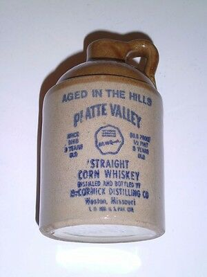 1978 McCormick Platte Valley Straight Corn Whiskey Stoneware Jug 1/2 Pint