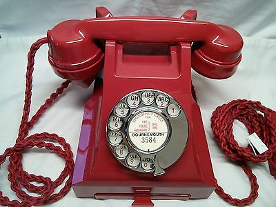 Chinese Red vintage GPO Bakelite 300 series telephone 1950's
