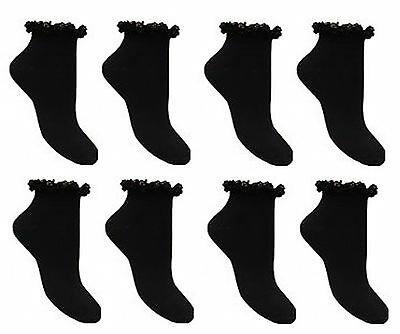 6 Pairs of Women Frilly Lace Top Cotton TRAINER Ankle Anklet Ladies Socks 4-7 uk