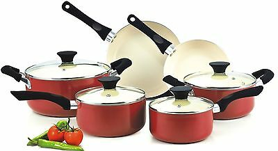 Cook N Home NC-00359 Nonstick Ceramic Coating 10-Piece Cookware Set Red New